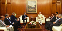 The Minister of Finance and Economic Development of Mauritius, Mr. Pravind Kumar Jugnauth calls on the Prime Minister, Shri Narendra Modi, in New Delhi on September 15, 2016.