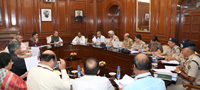 The Union Home Minister, Shri Rajnath Singh reviewing the issues of Indo Tibetan Border Police (ITBP) in a meeting, in New Delhi on September 30, 2016.  The Ministers of State for Home Affairs, Shri Hansraj Gangaram Ahir and Shri Kiren Rijiju, the Union Home Secretary, Shri Rajiv Mehrishi, the Secretary (Border Management), Shri Susheel Kumar, the Director General, ITBP, Shri D.K. Chaudhary and senior officers from ITBP and MHA are also seen.
