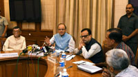 The Union Minister for Finance, Corporate Affairs and Information & Broadcasting, Shri Arun Jaitley briefing the media about the outcome of the 2nd meeting of the GST Council, in New Delhi on September 30, 2016. The Minister of State for Finance, Shri Santosh Kumar Gangwar and the Revenue Secretary, Dr. Hasmukh Adhia are also seen.