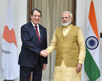The Prime Minister, Shri Narendra Modi meeting the President of the Republic of Cyprus, Mr. Nicos Anastasiades, at Hyderabad House, in New Delhi on April 28, 2017.