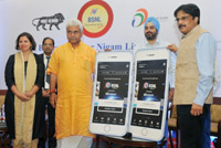 "The Minister of State for Communications (Independent Charge) and Railways, Shri Manoj Sinha launching the ""BSNL-Mobikwik Payment App"", in New Delhi on August 17, 2017."
