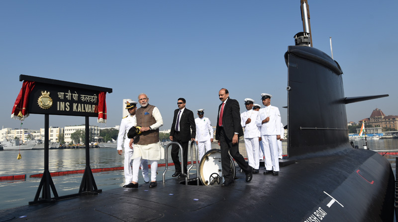 PM Modi commissions INS Kalvari into Indian Navy