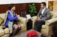 The Commonwealth Secretary General, Ms. Patricia Scotland meeting the Minister of State for Youth Affairs and Sports (I/C) and Information & Broadcasting, Col. Rajyavardhan Singh Rathore, in New Delhi on December 14, 2017.