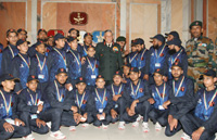 The Chief of Army Staff, General Bipin Rawat with the Students from Udhampur, J&K, in New Delhi on December 14, 2017.