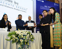The Union Minister for Electronics & Information Technology and Law & Justice, Shri Ravi Shankar Prasad at the launch of the Cyber Swachhta Kendra (Botnet Cleaning and Malware Analysis Centre), in New Delhi on February 21, 2017. The Secretary, Ministry of Electronics & Information Technology, Ms. Aruna Sundararajan is also seen.