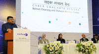 The Union Minister for Electronics & Information Technology and Law & Justice, Shri Ravi Shankar Prasad addressing at the launch of the Cyber Swachhta Kendra (Botnet Cleaning and Malware Analysis Centre), in New Delhi on February 21, 2017. The Secretary, Ministry of Electronics & Information Technology, Ms. Aruna Sundararajan and other dignitaries are also seen.