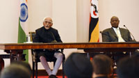 The Vice President, Shri M. Hamid Ansari and the President of Uganda, Mr. Yoweri Museveni making joint press statement, at the State House, in Entebbe, Uganda on February 22, 2017.