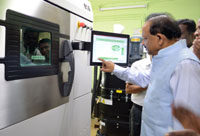 The Union Minister for Science & Technology and Earth Sciences, Dr. Harsh Vardhan witnessing the functioning of the Additive Manufacturing Facility 3D Printer unit developed by the CSIR-Central Electrochemical Research Institute (CECRI), in Karaikudi, Sivaganga, Tamil Nadu on February 25, 2017.