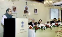"""The Union Minister for Steel, Shri Chaudhary Birender Singh addressing at the 25th meeting of the """"Steel Consumers Council"""", in Mumbai on January 21, 2017. The Secretary, Ministry of Steel, Dr. Aruna Sharma and other dignitaries are also seen."""