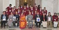 The President, Shri Pranab Mukherjee with the winners of the National Bravery Awards-2016, at Rashtrapati Bhavan, in New Delhi on January 21, 2017.