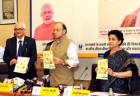 The Union Minister for Finance, Corporate Affairs and Defence, Shri Arun Jaitley launching the Pradhan Mantri Vaya Vandana Yojana (PMVVY), in New Delhi on July 21, 2017. 