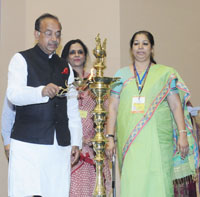 The Minister of State for Youth Affairs and Sports (I/C), Water Resources, River Development and Ganga Rejuvenation, Shri Vijay Goel lighting the lamp at the Brainstorming Session on Youth Development, in New Delhi on July 22, 2017.
