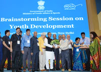 The Minister of State for Youth Affairs and Sports (I/C), Water Resources, River Development and Ganga Rejuvenation, Shri Vijay Goel at the Brainstorming Session on Youth Development, in New Delhi on July 22, 2017.