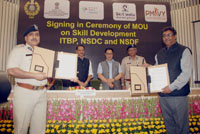 The Minister of State for Skill Development & Entrepreneurship (Independent Charge) and Parliamentary Affairs, Shri Rajiv Pratap Rudy and the Minister of State for Home Affairs, Shri Kiren Rijiju witnessing the exchange of MoU on Skill Development, between ITBP and National Skill Development Corporation, in New Delhi on June 27, 2017.  The DG, ITBP, Shri Krishna Chaudhary is also seen.