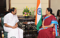 The Minister for Electricity, Prohibition and Excise, Tamil Nadu, Shri P. Thangamain meeting the Minister of State for Commerce & Industry (Independent Charge), Smt. Nirmala Sitharaman, in New Delhi on June 27, 2017.