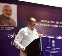 "The Minister of State for Social Justice & Empowerment, Shri Vijay Sampla addressing at a programme on the occasion of the ""International Day against Drug Abuse & Illicit Trafficking"", organised by the Ministry of Social Justice & Empowerment, in New Delhi on June 28, 2017."