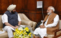 The Chief Minister of Punjab, Captain Amarinder Singh calling on the Prime Minister, Shri Narendra Modi, in New Delhi on March 22, 2017.