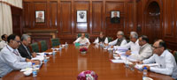 The Union Home Minister, Shri Rajnath Singh chairing a high level committee meeting for Central Assistance to States affected by natural disasters, in New Delhi on March 23, 2017. The Union Minister for Agriculture and Farmers Welfare, Shri Radha Mohan Singh, the Union Home Secretary, Shri Rajiv Mehrishi and senior officers are also seen.