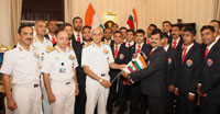 The Chief of Naval Staff, Admiral Sunil Lanba flagging off the Indian Navy's second expedition to Mount Everest by handing over the Ceremonial Ice Axe to the climbers, in New Delhi on March 23, 2017.