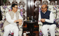 The Chief Minister of Manipur, Shri N. Biren Singh calling on the Minister of State for Home Affairs, Shri Kiren Rijiju, in New Delhi on March 28, 2017.