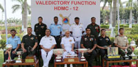 The Chairman, COSC and Chief of the Naval Staff, Admiral Sunil Lanba with the award winners of HDMC-12, at the valedictory function of the Higher Defence Management Course - 12 (HDMC-12), at College of Defence Management, in Secunderabad on March 30, 2017.