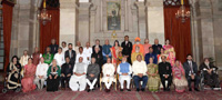 The President, Shri Pranab Mukherjee, the Vice President, Shri M. Hamid Ansari, the Prime Minister, Shri Narendra Modi and the Union Home Minister, Shri Rajnath Singh with the awardees, at a Civil Investiture Ceremony, at Rashtrapati Bhavan, in New Delhi on March 30, 2017.