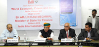 The Minister of State for Finance and Corporate Affairs, Shri Arjun Ram Meghwal addressing at the release the book World Economic Crises and India, authored by Dr. D. Bhalla, IAS, in New Delhi on March 30, 2017.