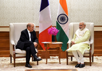 The Minister for Europe and Foreign Affairs of France, Mr. Jean-Yves Le Drian calls on the Prime Minister, Shri Narendra Modi, in New Delhi on November 17, 2017.