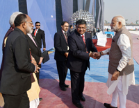 The Prime Minister, Shri Narendra Modi being welcomed by the Union Minister for Electronics & Information Technology and Law & Justice, Shri Ravi Shankar Prasad, on his arrival, at the 5th Global Conference on Cyber Space (GCCS2017), at Aerocity, in New Delhi on November 23, 2017.