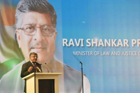 The Union Minister for Electronics & Information Technology and Law & Justice, Shri Ravi Shankar Prasad addressing the gathering at the inauguration ceremony of the 5th Global Conference  on Cyber Space (GCCS2017), at Aerocity, in New Delhi on November 23, 2017.