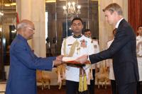 The Ambassador - Designate of Sweden, Mr. Klas Molin presenting his credentials to the President, Shri Ram Nath Kovind, at Rashtrapati Bhavan, in New Delhi on November 23, 2017.