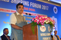 The Union Minister for Road Transport & Highways, Shipping and Water Resources, River Development & Ganga Rejuvenation, Shri Nitin Gadkari addressing the World Shipping Forum 2017, in Chennai on November 23, 2017.