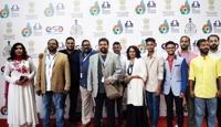 The Director Miransha Naik with the Cast and Crew of the Konkani movie, JUZE at the Red Carpet, during the 48th International Film Festival of India (IFFI-2017), in Panaji, Goa on November 23, 2017.