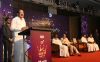 The Vice President, Shri M. Venkaiah Naidu addressing the gathering after giving away Magudam Awards constituted by News18 Tamil Nadu, for the best and the brightest from Tamil Nadu in various fields, in Chennai on October 16, 2017. The Governor of Tamil Nadu, Shri Banwarilal Purohit, the Chief Minister of Puducherry, Shri V. Narayanasamy and the Deputy Chief Minister of Tamil Nadu, Shri O. Panneerselvam are also seen.