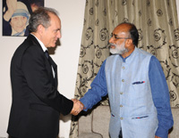 The CEO, Morocco National Tourism office (MNTO), Mr. Abderrafia Zouitene calling on the Minister of State for Tourism (I/C) and Electronics & Information Technology, Shri Alphons Kannanthanam, in New Delhi on October 19, 2017.