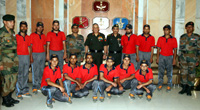 The Chief of Army Staff, General Bipin Rawat in a group photograph with the youth of Gurez Valley (J&K), who are on the Army sponsored 'National Integration Tour', in New Delhi on September 21, 2017.
