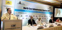 The Minister of State for Development of North Eastern Region (I/C), Prime Minister's Office, Personnel, Public Grievances & Pensions, Atomic Energy and Space, Dr. Jitendra Singh addressing the North East Infrastructure Conclave, in New Delhi on September 23, 2017. The Secretary, DoNER, Shri Naveen Verma is also seen.
