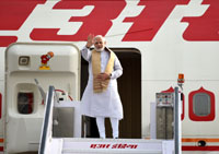 The Prime Minister, Shri Narendra Modi emplanes for visit to Sweden and UK from New Delhi on April 16, 2018.