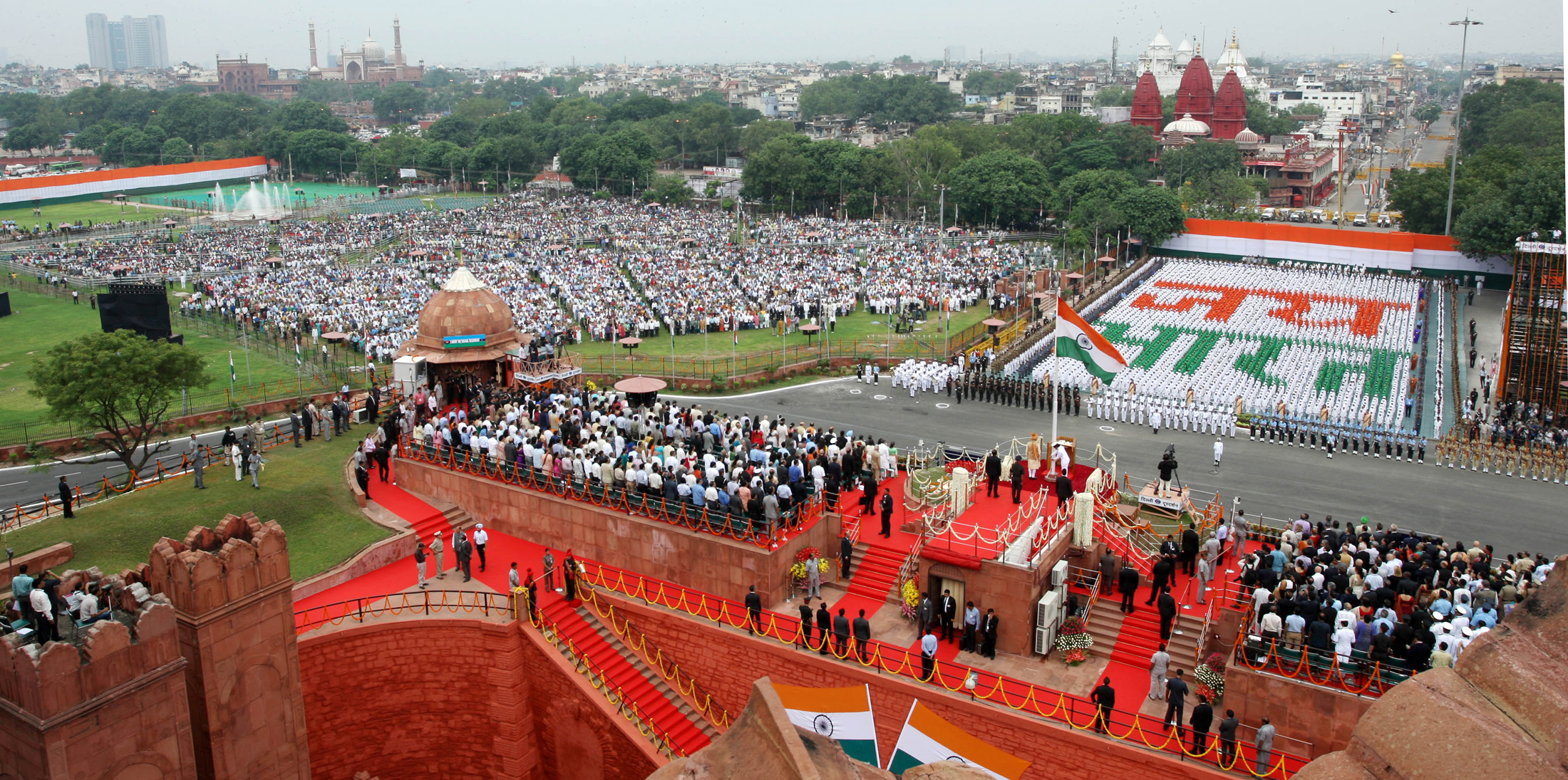 A panoramic view from the Minarets of Red Fort, while the Prime Minister, Shri Narendra Modi addressing the Nation from ramparts of the fort, on the occasion of 69th Independence Day, in Delhi on August 15, 2015.
